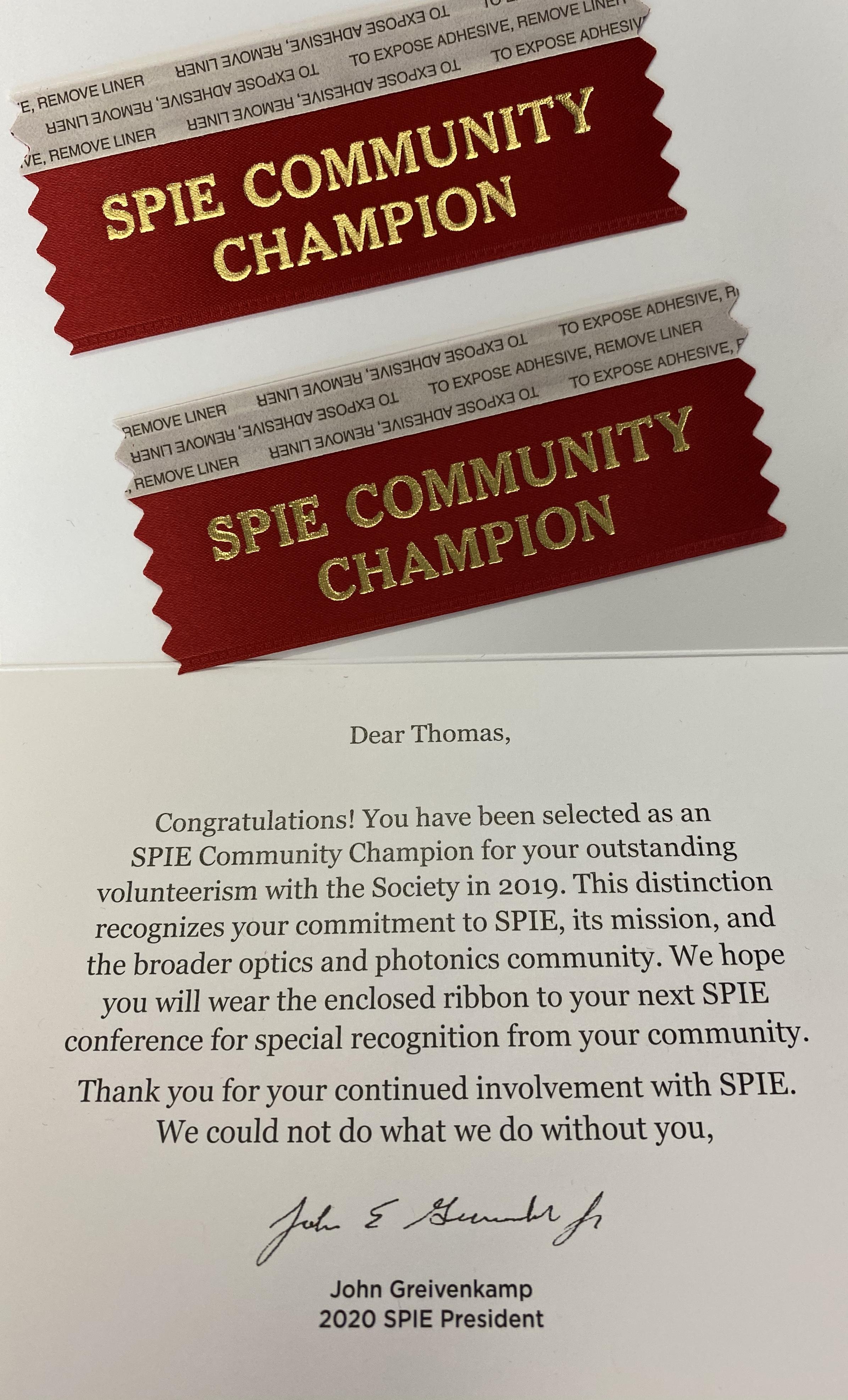 SPIE Community Champion
